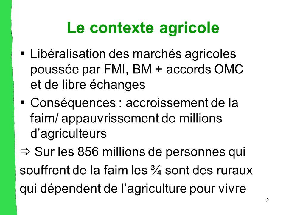 2 Le contexte agricole  Libéralisation des marchés agricoles poussée par FMI, BM + accords OMC et de libre échanges  Conséquences : accroissement de la faim/ appauvrissement de millions d'agriculteurs  Sur les 856 millions de personnes qui souffrent de la faim les ¾ sont des ruraux qui dépendent de l'agriculture pour vivre