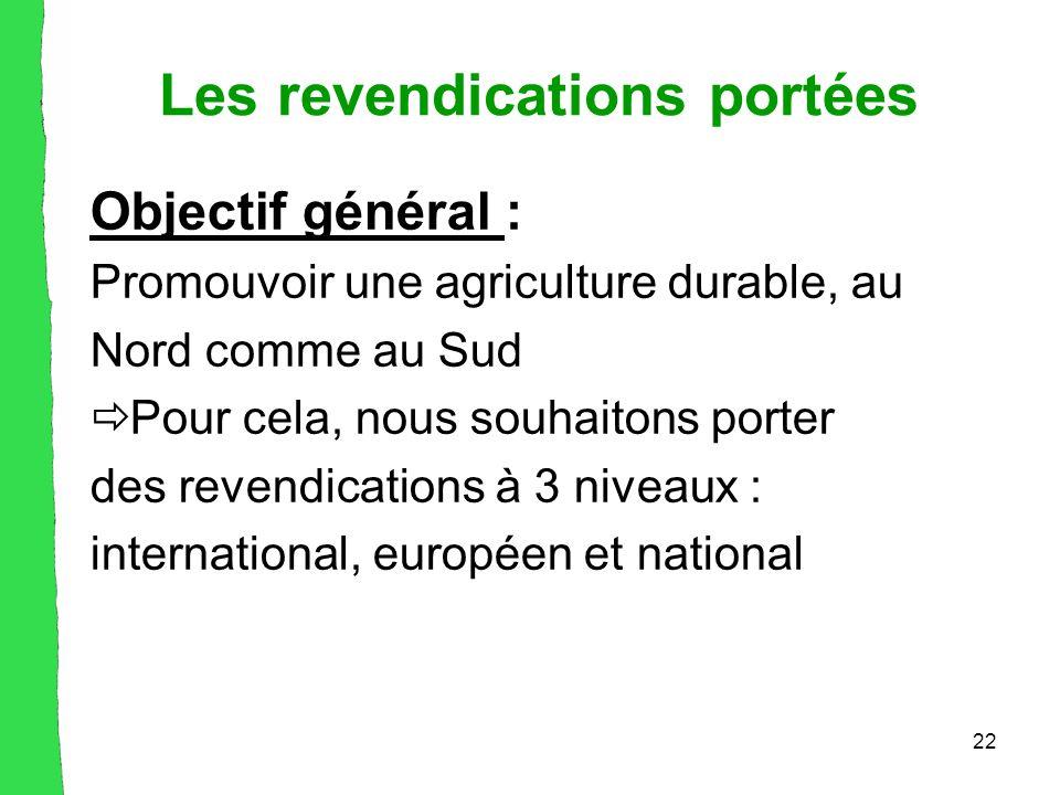 22 Les revendications portées Objectif général : Promouvoir une agriculture durable, au Nord comme au Sud  Pour cela, nous souhaitons porter des revendications à 3 niveaux : international, européen et national