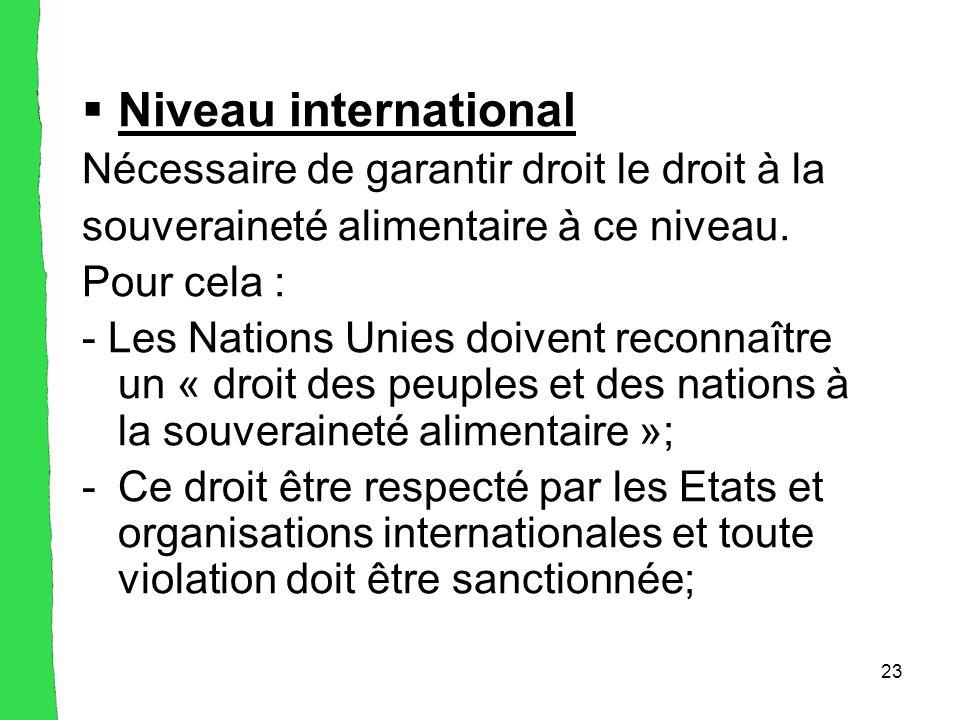 23  Niveau international Nécessaire de garantir droit le droit à la souveraineté alimentaire à ce niveau.