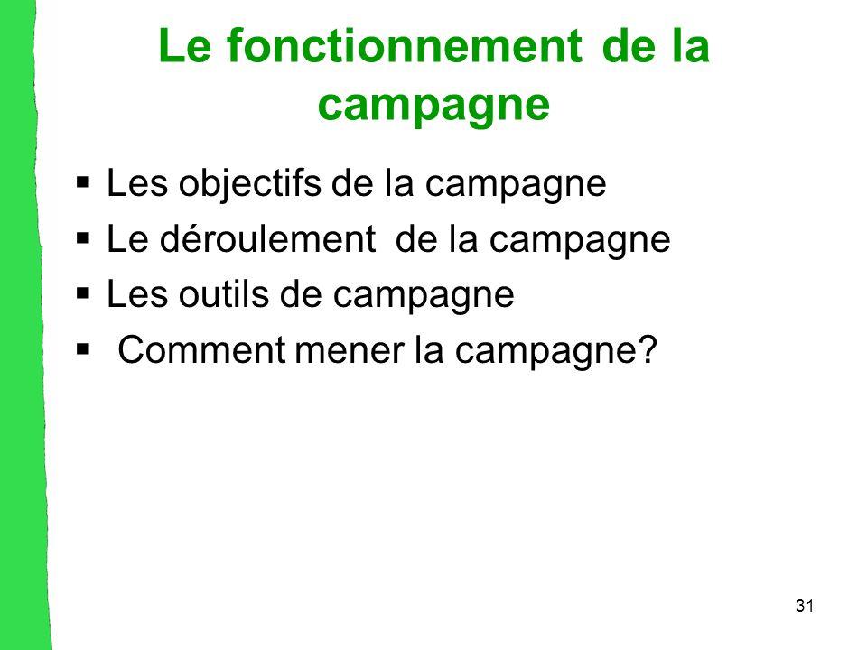 31 Le fonctionnement de la campagne  Les objectifs de la campagne  Le déroulement de la campagne  Les outils de campagne  Comment mener la campagne?