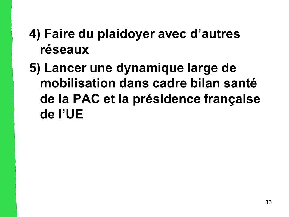 33 4) Faire du plaidoyer avec d'autres réseaux 5) Lancer une dynamique large de mobilisation dans cadre bilan santé de la PAC et la présidence française de l'UE