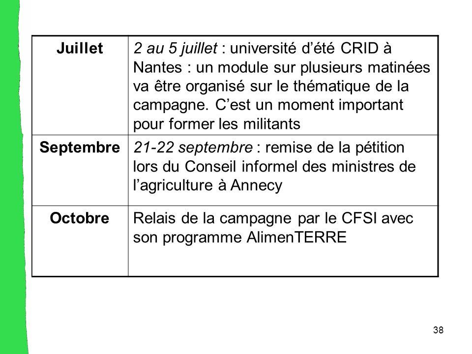 38 Juillet2 au 5 juillet : université d'été CRID à Nantes : un module sur plusieurs matinées va être organisé sur le thématique de la campagne.