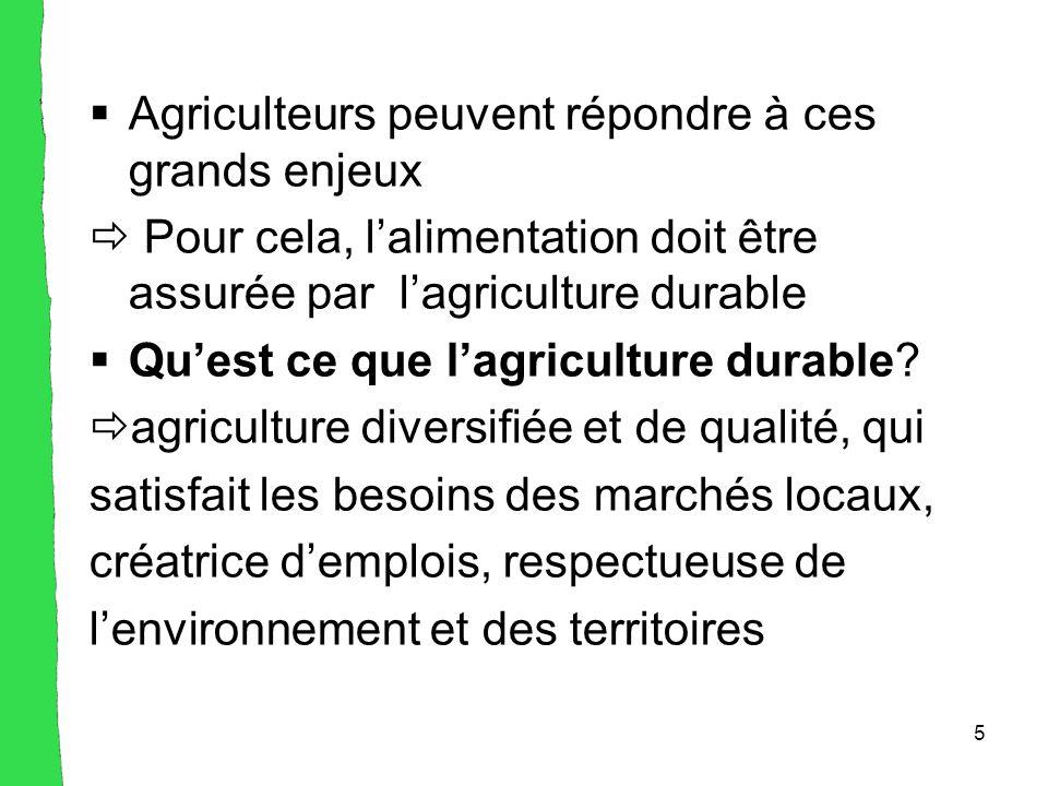 5  Agriculteurs peuvent répondre à ces grands enjeux  Pour cela, l'alimentation doit être assurée par l'agriculture durable  Qu'est ce que l'agriculture durable.
