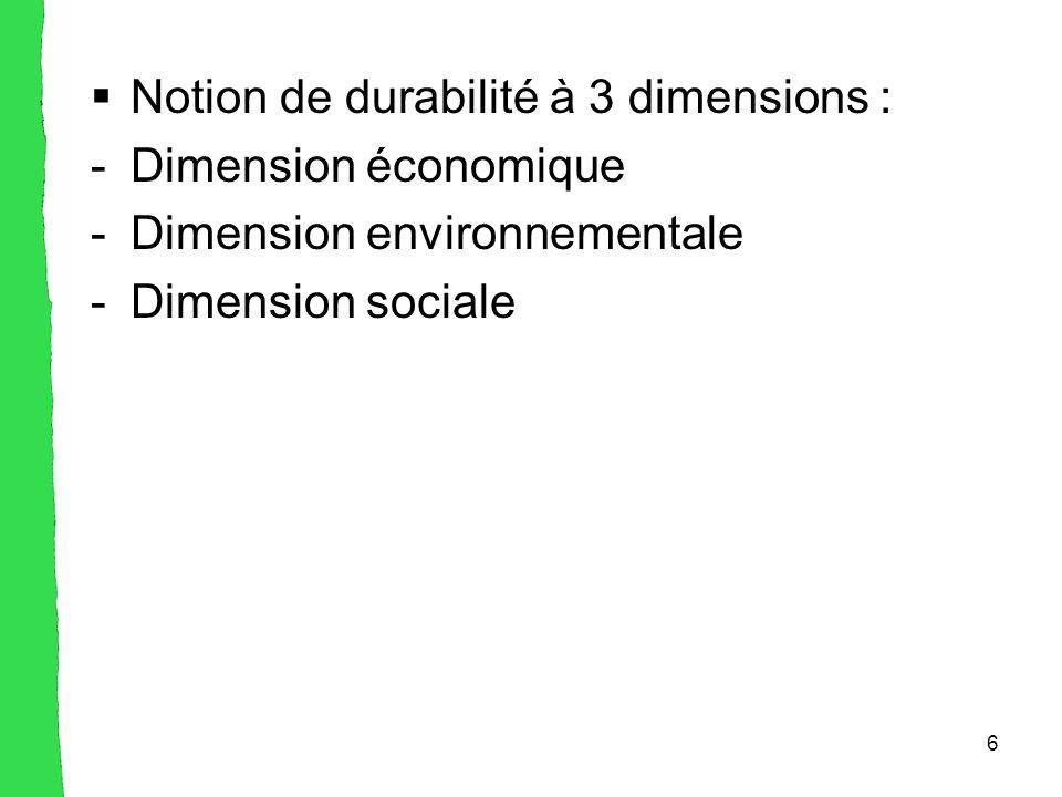 6  Notion de durabilité à 3 dimensions : -Dimension économique -Dimension environnementale -Dimension sociale