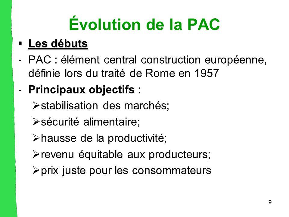 9 Évolution de la PAC  Les débuts -PAC : élément central construction européenne, définie lors du traité de Rome en 1957 -Principaux objectifs :  stabilisation des marchés;  sécurité alimentaire;  hausse de la productivité;  revenu équitable aux producteurs;  prix juste pour les consommateurs