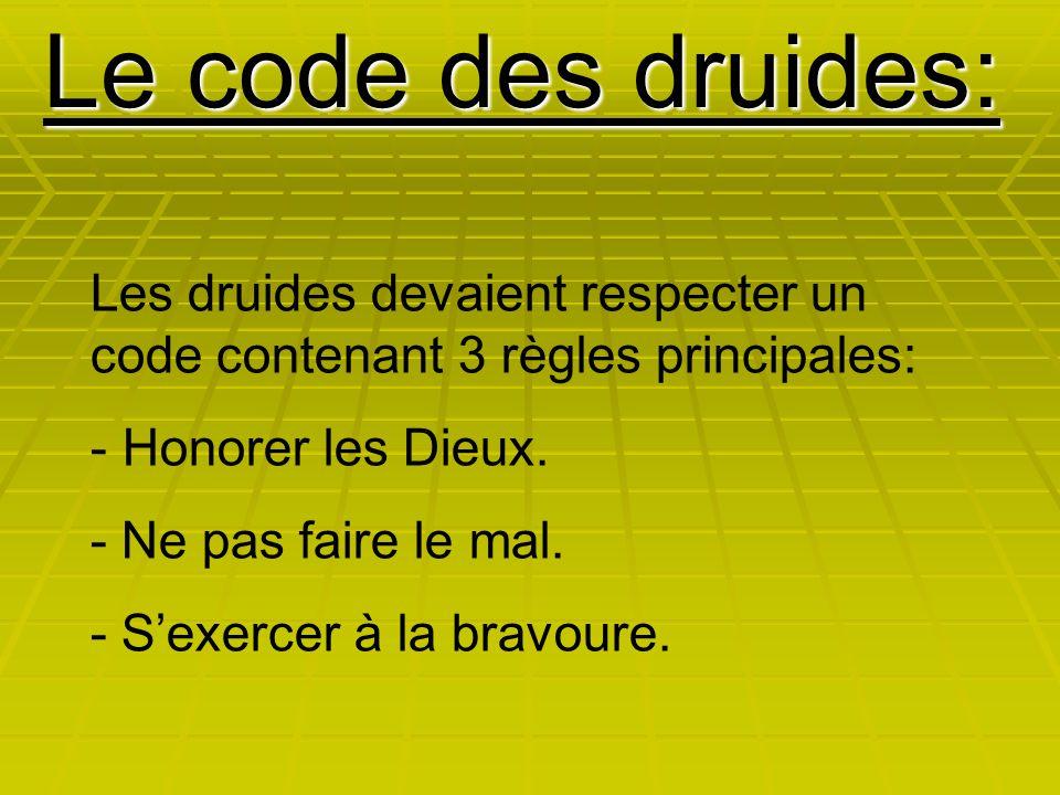 Le code des druides: Les druides devaient respecter un code contenant 3 règles principales: - Honorer les Dieux. - Ne pas faire le mal. - S'exercer à