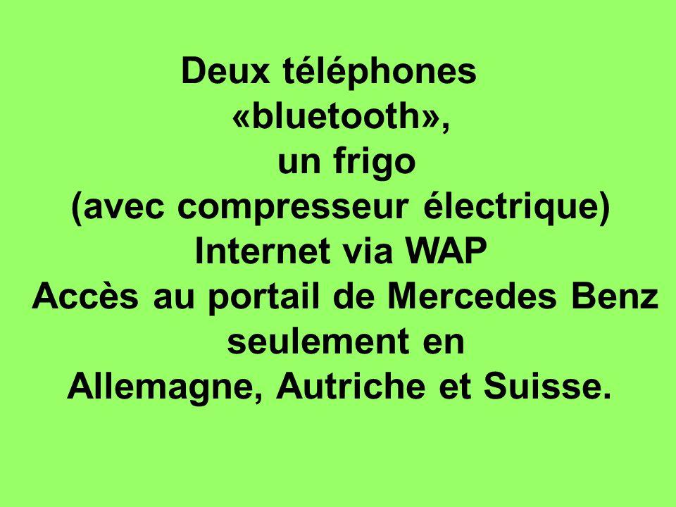 Deux téléphones «bluetooth», un frigo (avec compresseur électrique) Internet via WAP Accès au portail de Mercedes Benz seulement en Allemagne, Autriche et Suisse.
