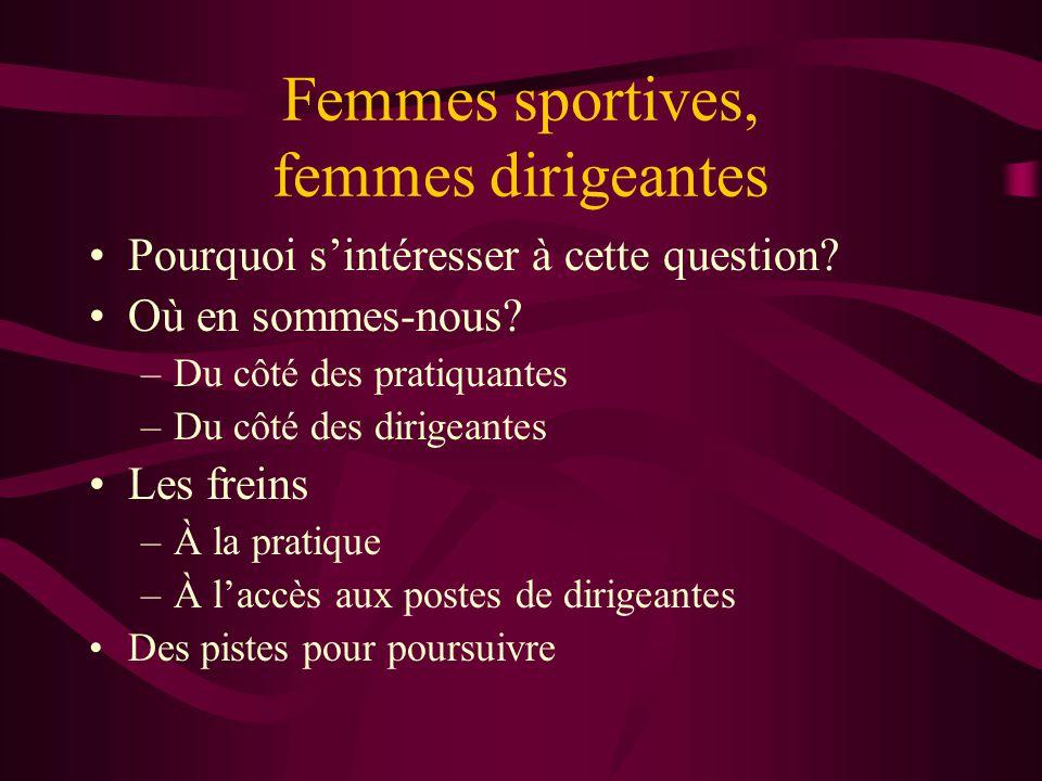 Femmes sportives, femmes dirigeantes •Pourquoi s'intéresser à cette question.