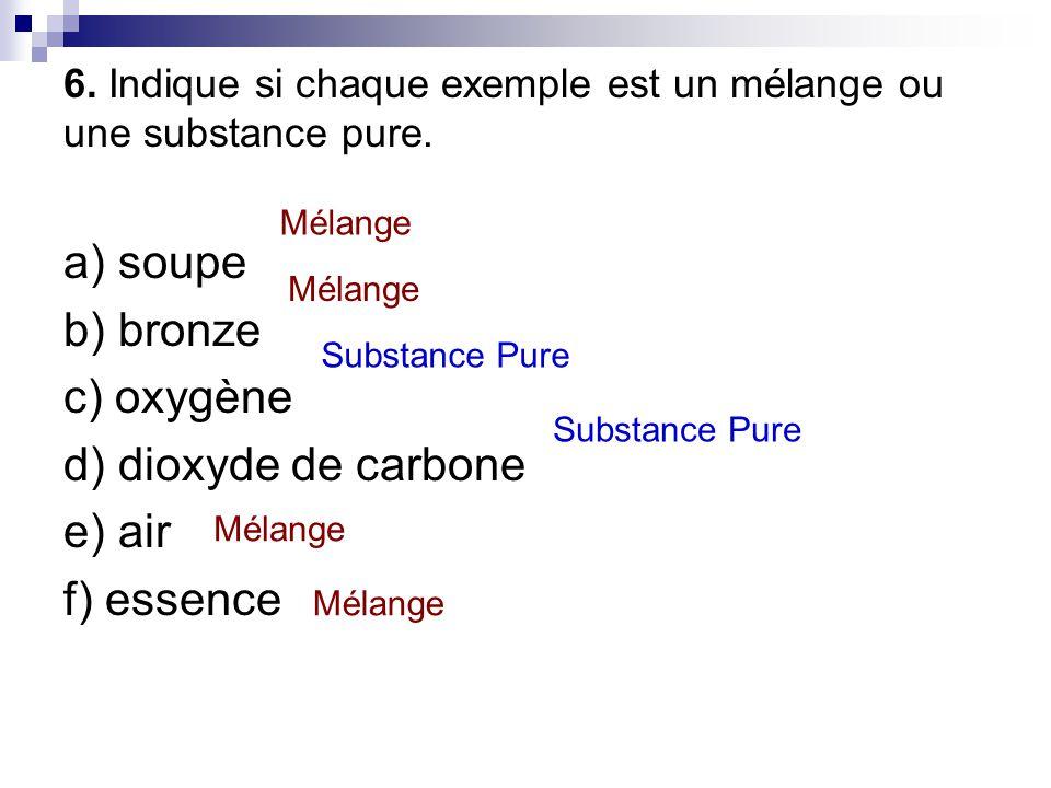 6. Indique si chaque exemple est un mélange ou une substance pure. a) soupe b) bronze c) oxygène d) dioxyde de carbone e) air f) essence Mélange Subst