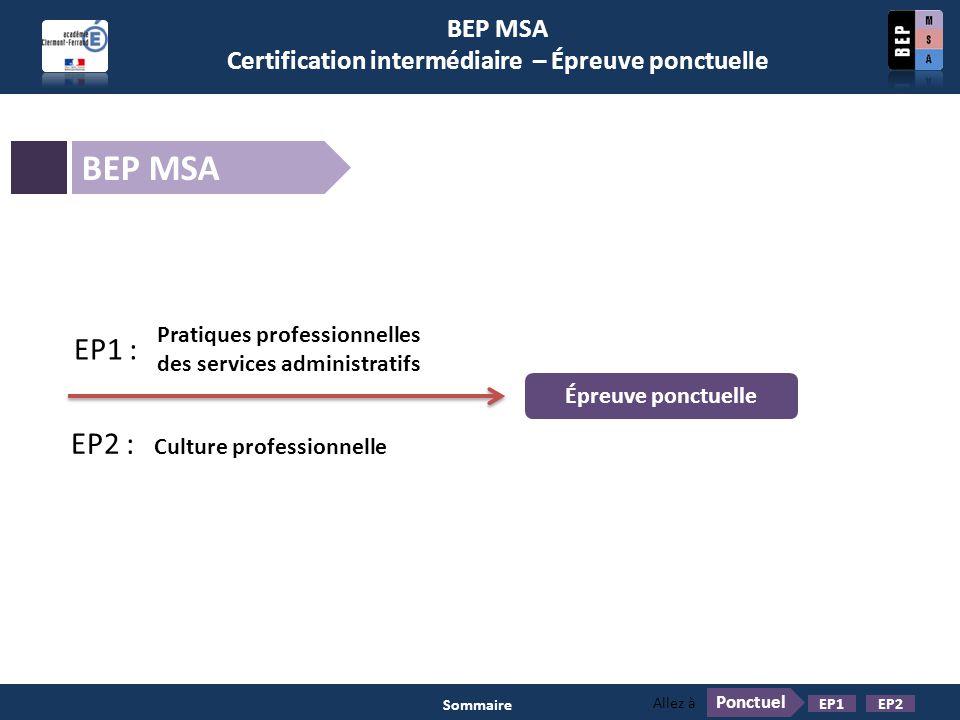 BEP MSA Certification intermédiaire – Épreuve ponctuelle BEP MSA Pratiques professionnelles des services administratifs EP1 : EP2 : Culture profession