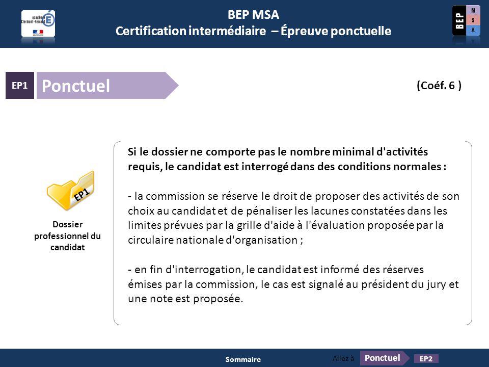 BEP MSA Certification intermédiaire – Épreuve ponctuelle Ponctuel EP1 (Coéf. 6 ) Pratiques professionnelles des services administratifs EP1 Dossier pr