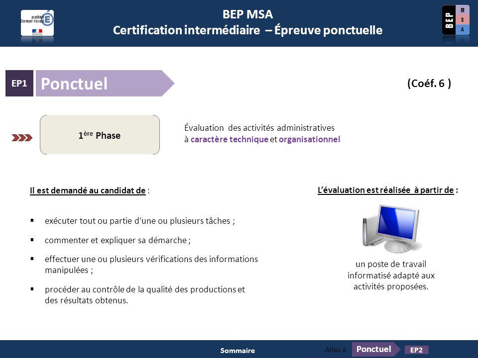 BEP MSA Certification intermédiaire – Épreuve ponctuelle Ponctuel EP1 (Coéf. 6 ) Pratiques professionnelles des services administratifs 1 ère Phase Év