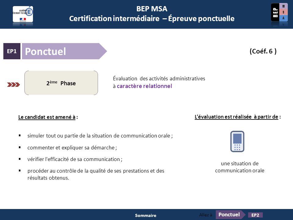 BEP MSA Certification intermédiaire – Épreuve ponctuelle Ponctuel EP1 (Coéf. 6 ) Pratiques professionnelles des services administratifs 2 ème Phase Év