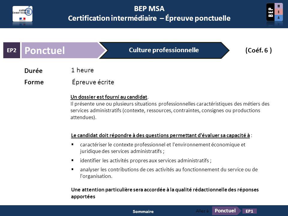 BEP MSA Certification intermédiaire – Épreuve ponctuelle Ponctuel EP2 1 heure Durée FormeÉpreuve écrite (Coéf. 6 ) Culture professionnelle Un dossier