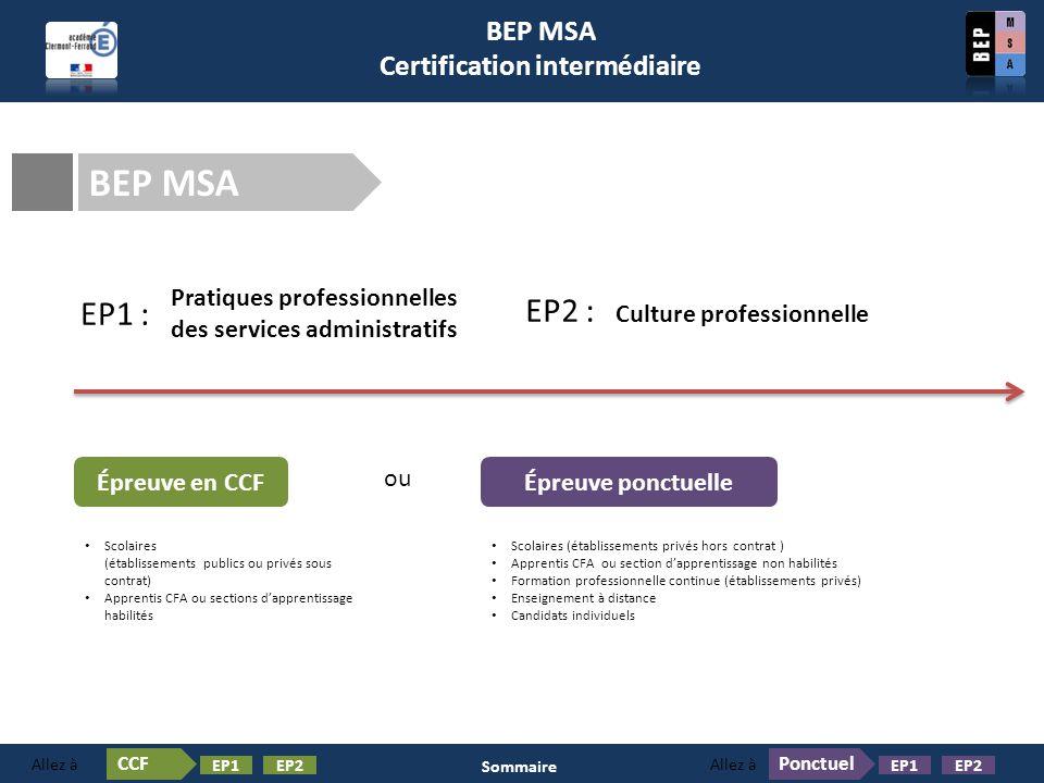 BEP MSA Certification intermédiaire – Épreuve en CCF BEP MSA Épreuve en CCF Pratiques professionnelles des services administratifs EP1 : EP2 : Culture professionnelle CCF EP1EP2 Allez à Sommaire