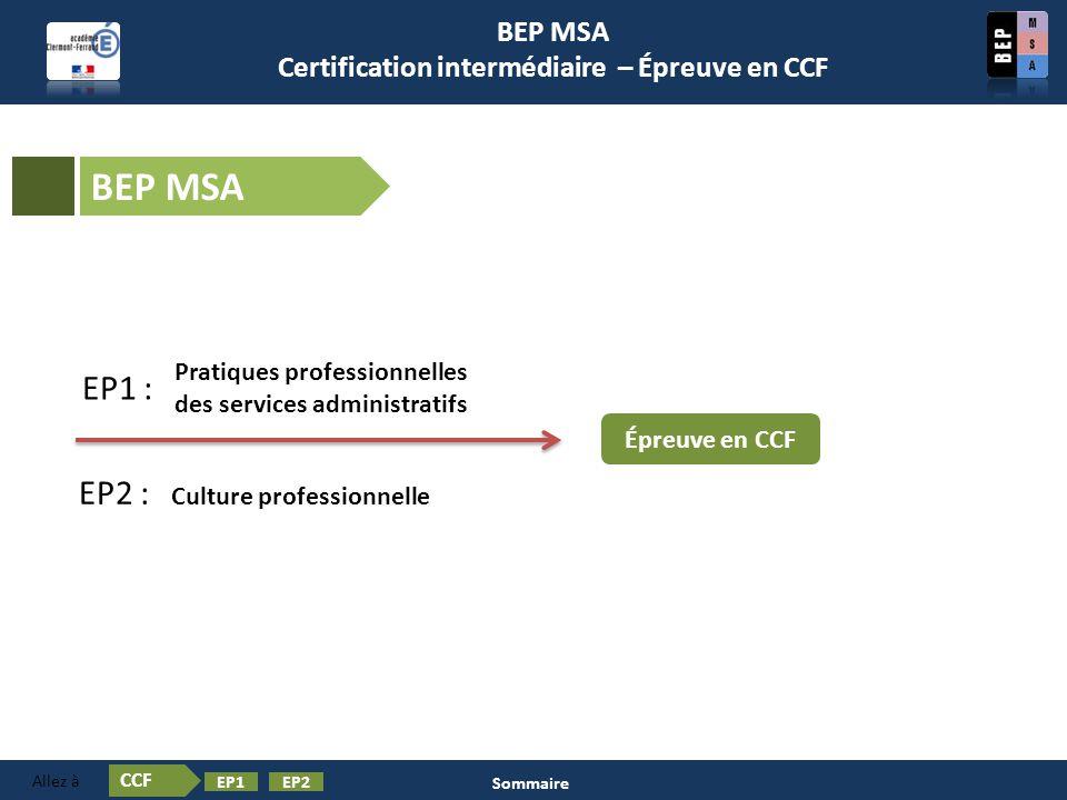 BEP MSA Certification intermédiaire – Épreuve en CCF BEP MSA Épreuve en CCF Pratiques professionnelles des services administratifs EP1 : EP2 : Culture