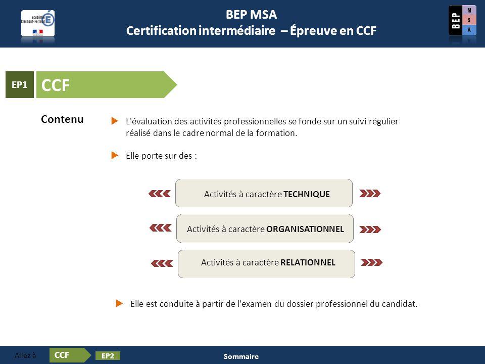 Contenu Certification en BEP MSA Les épreuves ❶ Activités à caractère TECHNIQUE Activités à caractère ORGANISATIONNEL Activités à caractère RELATIONNE