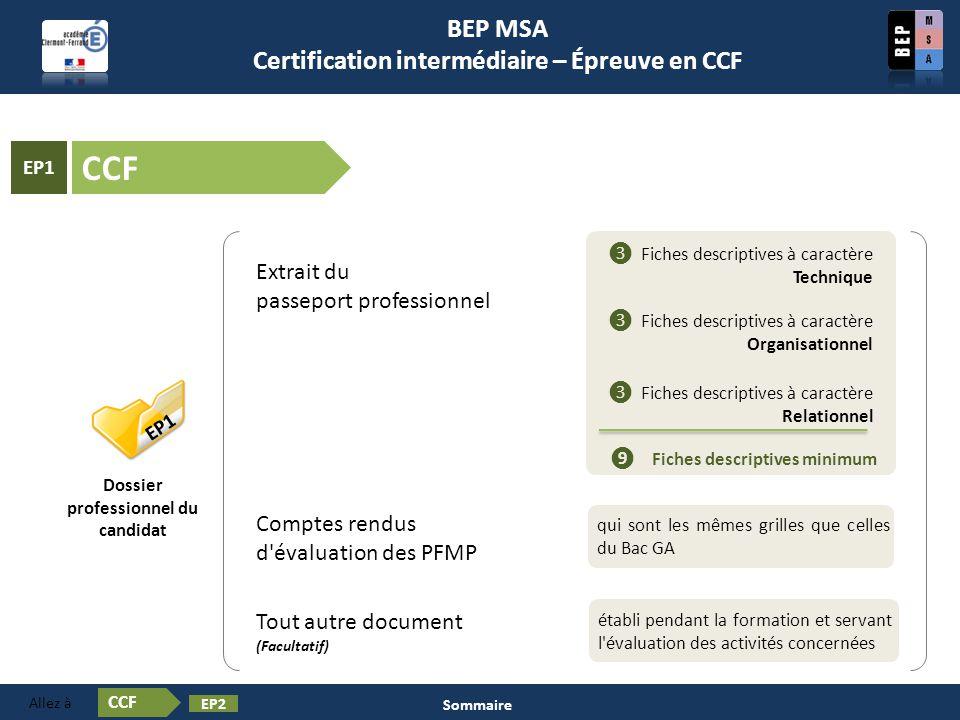 Certification en BEP MSA Les épreuves ❶ Pratiques professionnelles des services administratifs EP1 Dossier professionnel du candidat Extrait du passep