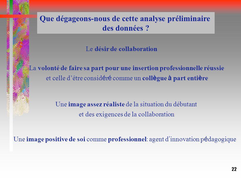 22 Le désir de collaboration Que dégageons-nous de cette analyse préliminaire des données .