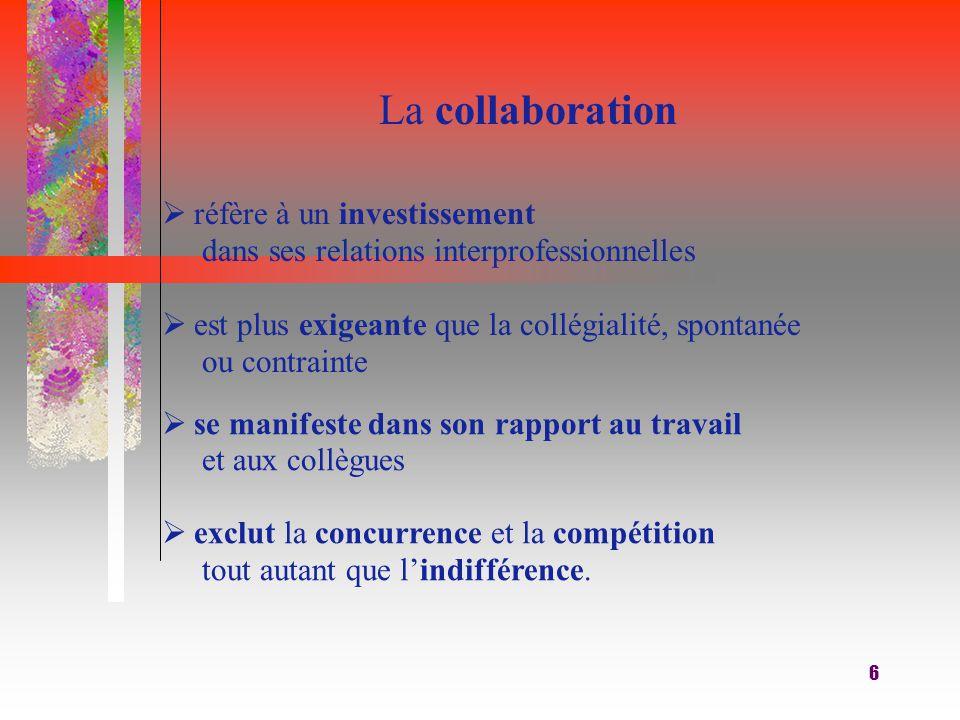 6 La collaboration  réfère à un investissement dans ses relations interprofessionnelles  est plus exigeante que la collégialité, spontanée ou contrainte  se manifeste dans son rapport au travail et aux collègues  exclut la concurrence et la compétition tout autant que l'indifférence.