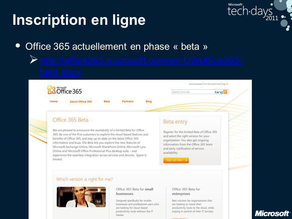 11 Inscription en ligne • Office 365 actuellement en phase « beta »  http://office365.microsoft.com/en-US/office365- beta.aspx http://office365.micro