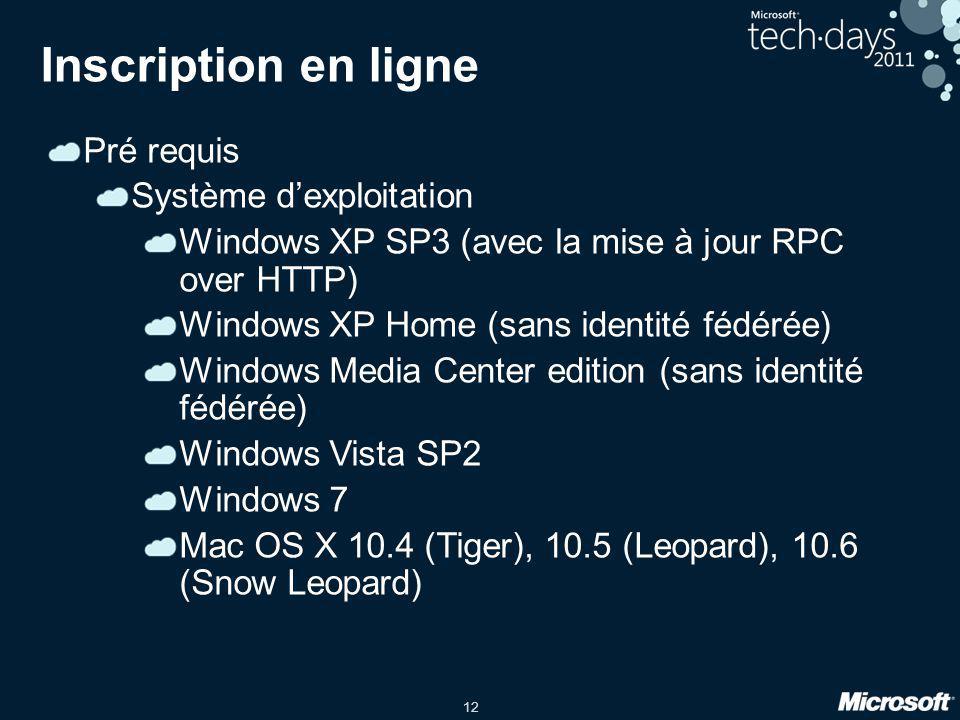 12 Inscription en ligne Pré requis Système d'exploitation Windows XP SP3 (avec la mise à jour RPC over HTTP) Windows XP Home (sans identité fédérée) W
