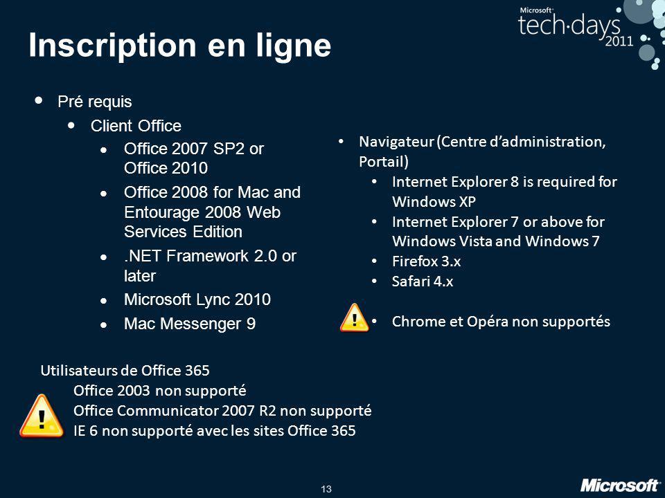 13 Inscription en ligne • Pré requis • Client Office • Office 2007 SP2 or Office 2010 • Office 2008 for Mac and Entourage 2008 Web Services Edition •.