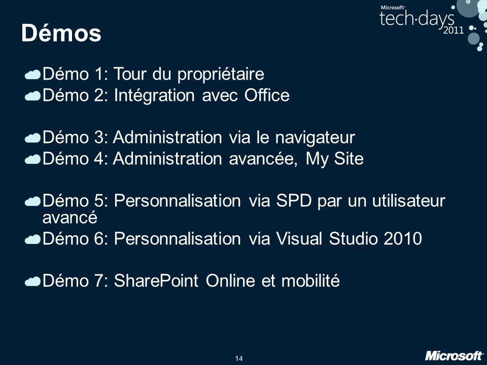 14 Démos Démo 1: Tour du propriétaire Démo 2: Intégration avec Office Démo 3: Administration via le navigateur Démo 4: Administration avancée, My Site
