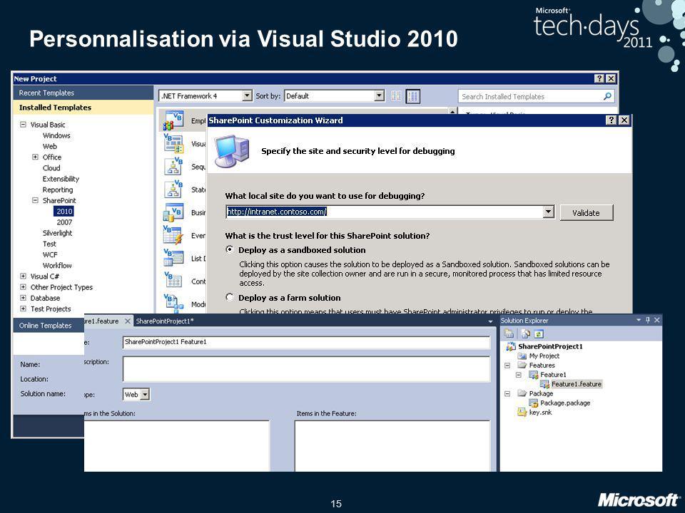 15 Personnalisation via Visual Studio 2010