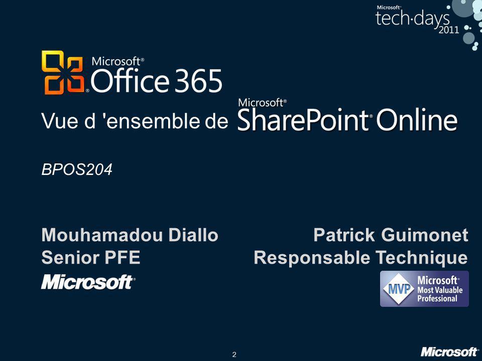 2 Vue d 'ensemble de BPOS204 Mouhamadou Diallo Senior PFE Patrick Guimonet Responsable Technique