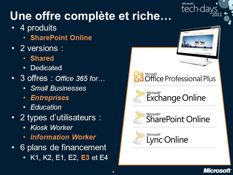4 Une offre complète et riche… •4 produits •SharePoint Online •2 versions : •Shared •Dedicated •3 offres : Office 365 for… •Small Businesses •Entrepri