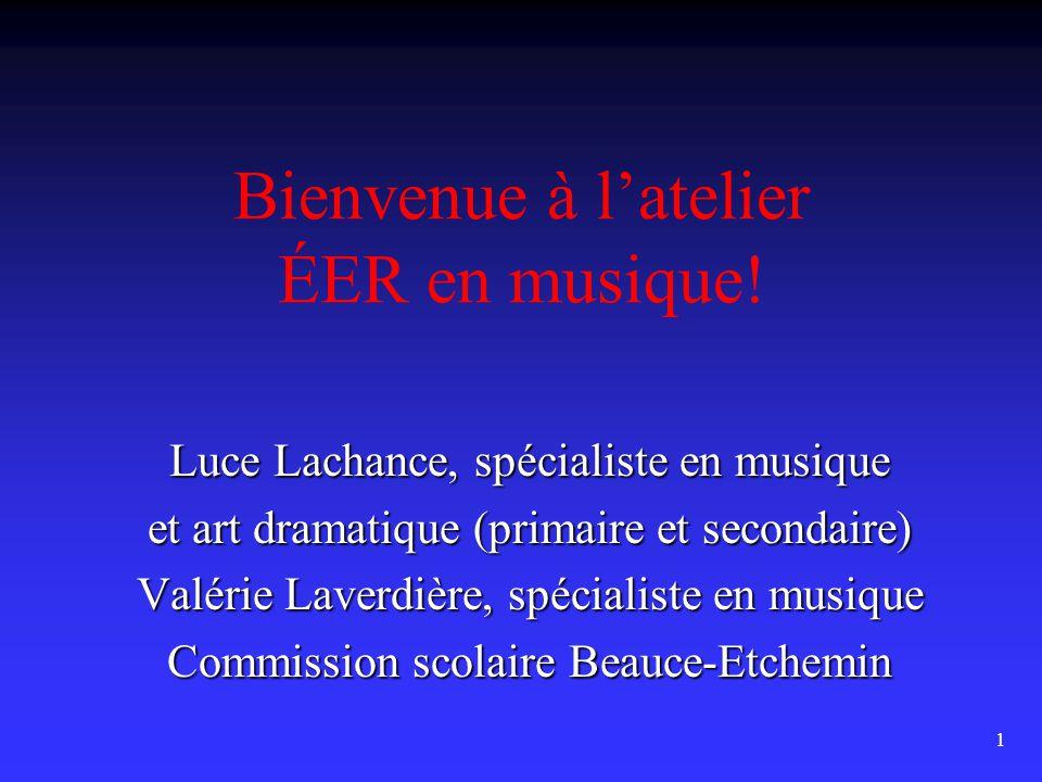 1 Bienvenue à l'atelier ÉER en musique.