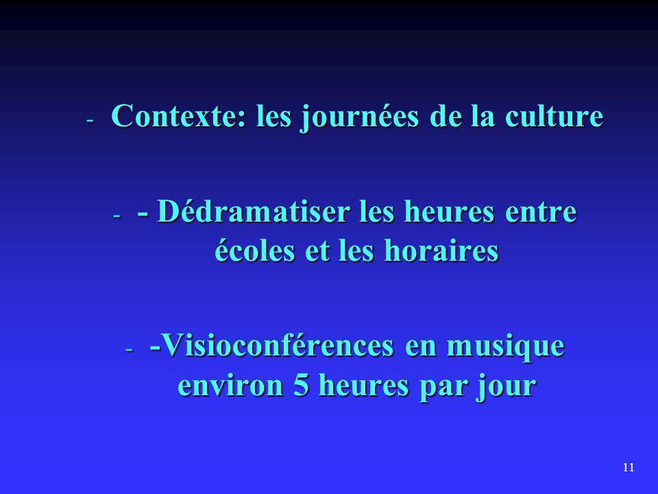 11 - Contexte: les journées de la culture - - Dédramatiser les heures entre écoles et les horaires - -Visioconférences en musique environ 5 heures par jour
