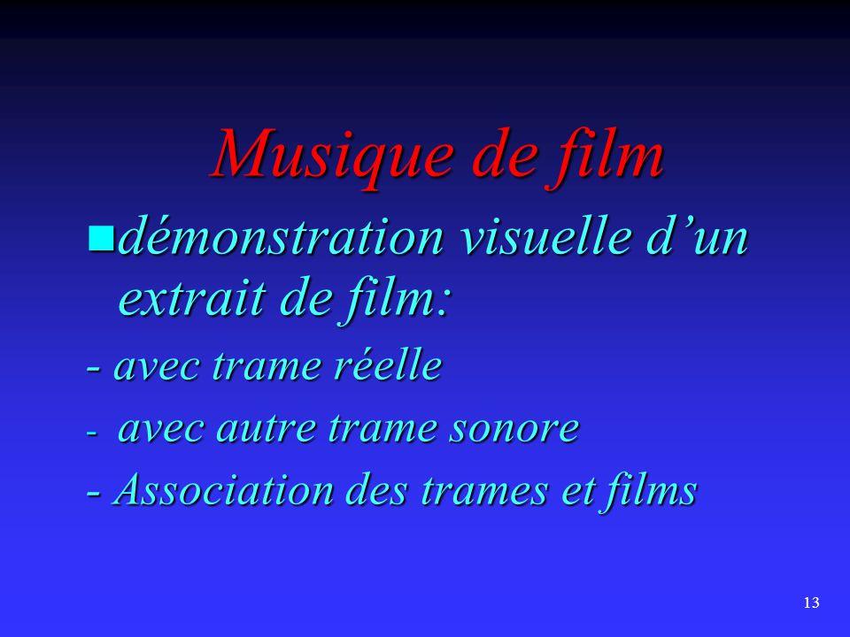 13 Musique de film  démonstration visuelle d'un extrait de film: - avec trame réelle - avec autre trame sonore - Association des trames et films