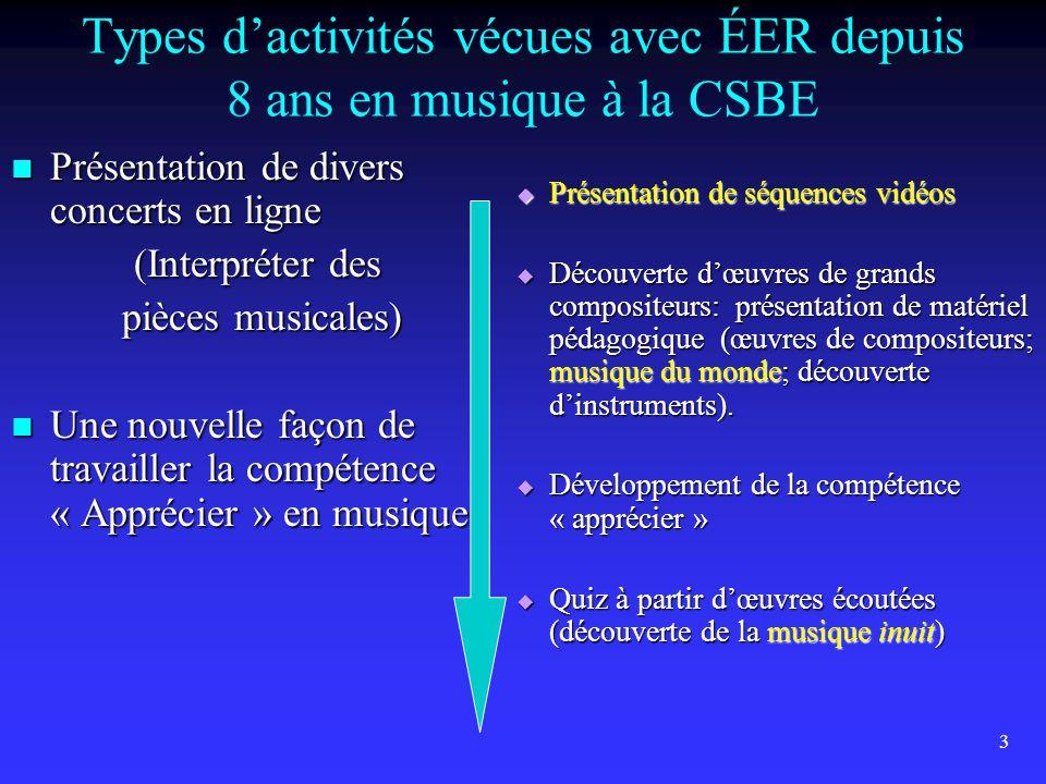 4 Types d'activités vécues avec ÉER (suite…)  Création musicale en ligne avec ÉER  Partenariat « Français / Musique »  Improvisation musicale en direct o Improvisation sur des thèmes (présentation de la visioconférence du 7 octobre 2013).