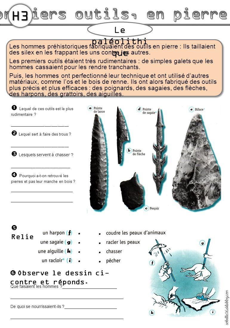 Les hommes préhistoriques fabriquaient des outils en pierre : Ils taillaient des silex en les frappant les uns contre les autres. Les premiers outils