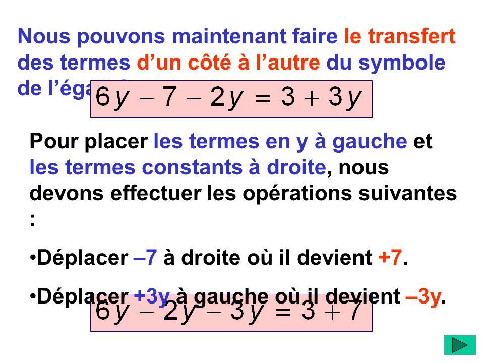 Nous pouvons maintenant faire le transfert des termes d'un côté à l'autre du symbole de l'égalité. Pour placer les termes en y à gauche et les termes