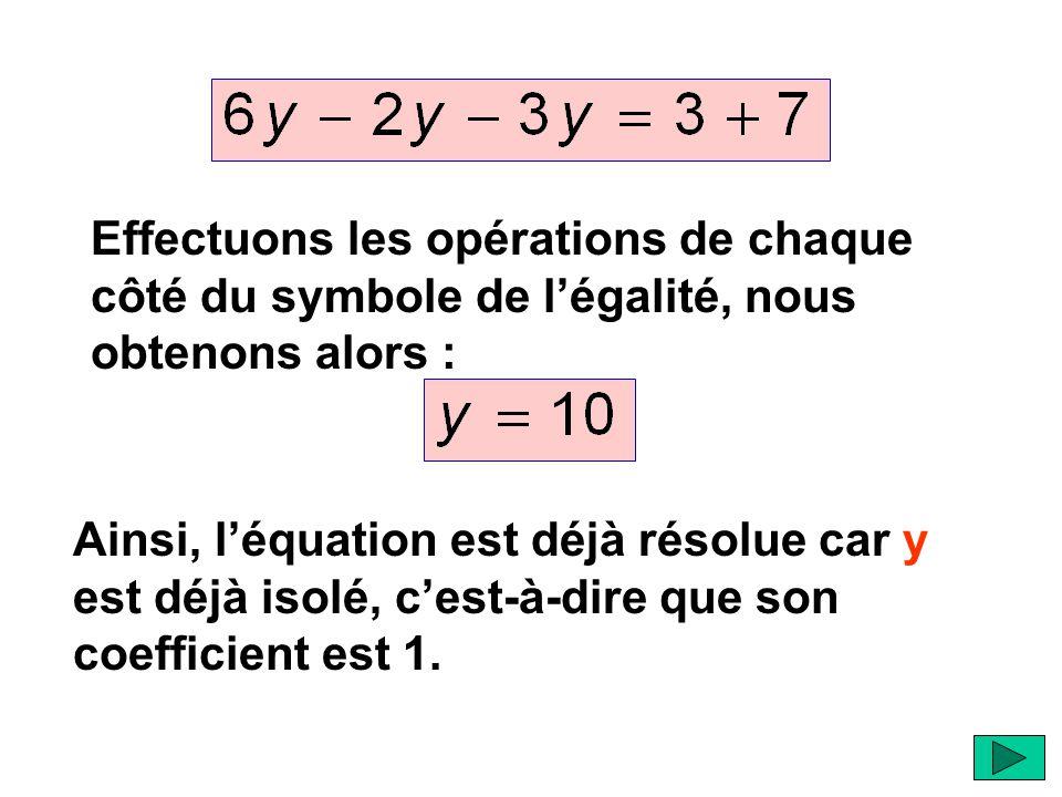 Effectuons les opérations de chaque côté du symbole de l'égalité, nous obtenons alors : Ainsi, l'équation est déjà résolue car y est déjà isolé, c'est