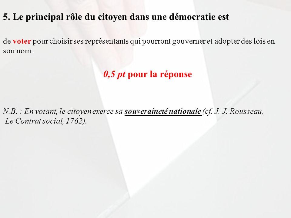 5. Le principal rôle du citoyen dans une démocratie est de voter pour choisir ses représentants qui pourront gouverner et adopter des lois en son nom.