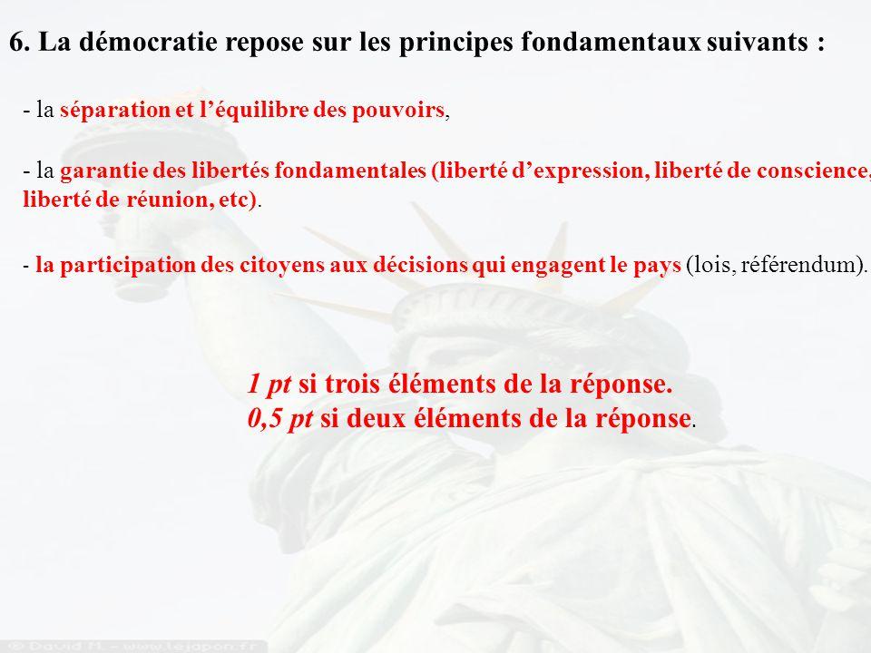 6. La démocratie repose sur les principes fondamentaux suivants : - la séparation et l'équilibre des pouvoirs, - la garantie des libertés fondamentale