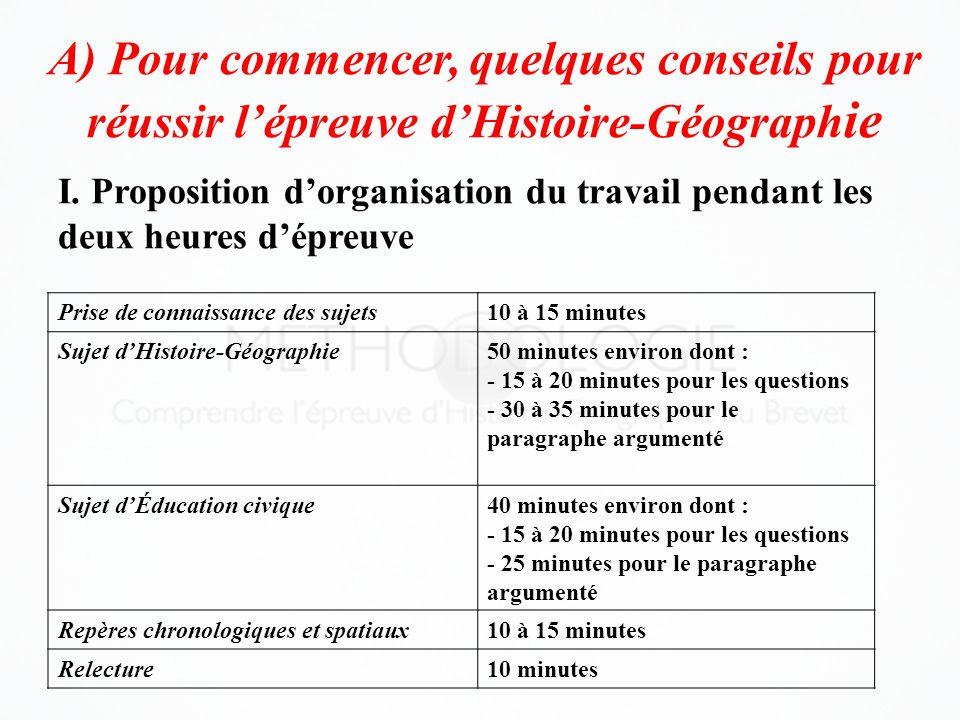 A) Pour commencer, quelques conseils pour réussir l'épreuve d'Histoire-Géograph ie Prise de connaissance des sujets10 à 15 minutes Sujet d'Histoire-Gé