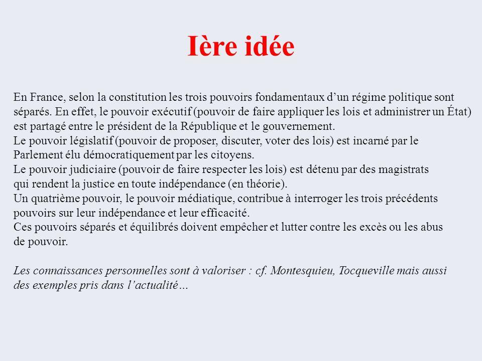 Ière idée En France, selon la constitution les trois pouvoirs fondamentaux d'un régime politique sont séparés. En effet, le pouvoir exécutif (pouvoir
