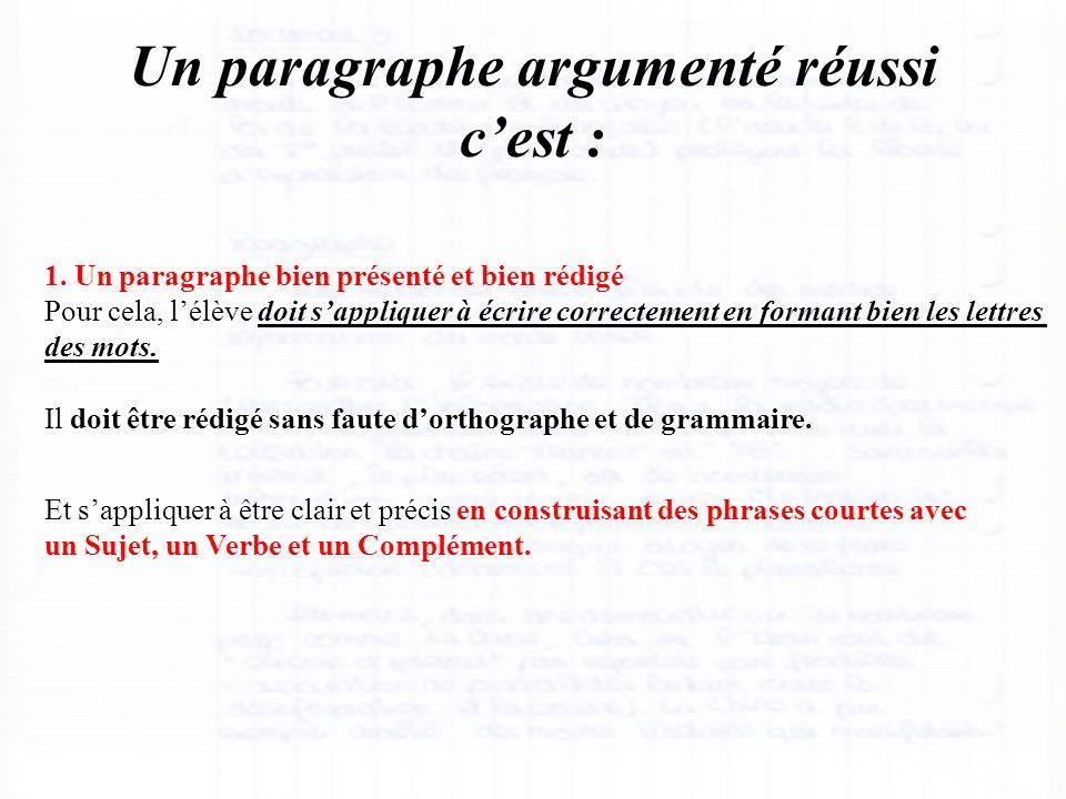 Un paragraphe argumenté réussi c'est : 1. Un paragraphe bien présenté et bien rédigé Pour cela, l'élève doit s'appliquer à écrire correctement en form