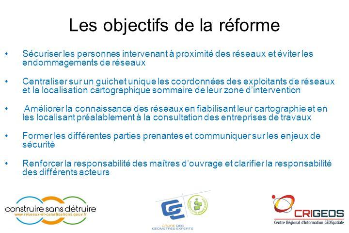 Les objectifs de la réforme •Sécuriser les personnes intervenant à proximité des réseaux et éviter les endommagements de réseaux •Centraliser sur un g