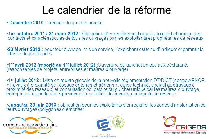 Le calendrier de la réforme • Décembre 2010 : création du guichet unique •1er octobre 2011 / 31 mars 2012 : Obligation d'enregistrement auprès du guic