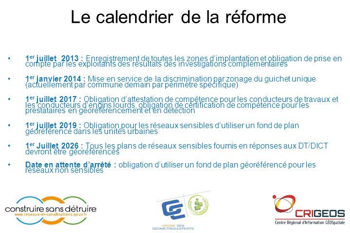 Le calendrier de la réforme •1 er juillet 2013 : Enregistrement de toutes les zones d'implantation et obligation de prise en compte par les exploitant