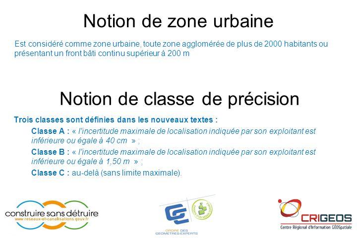 Notion de zone urbaine Notion de classe de précision Trois classes sont définies dans les nouveaux textes : Classe A : « l'incertitude maximale de loc