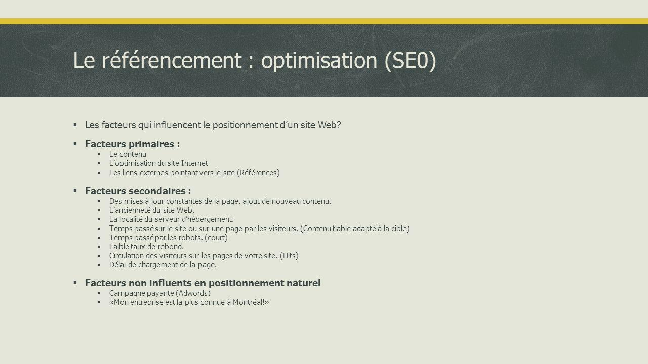 Le référencement : optimisation (SE0)  Les facteurs qui influencent le positionnement d'un site Web.