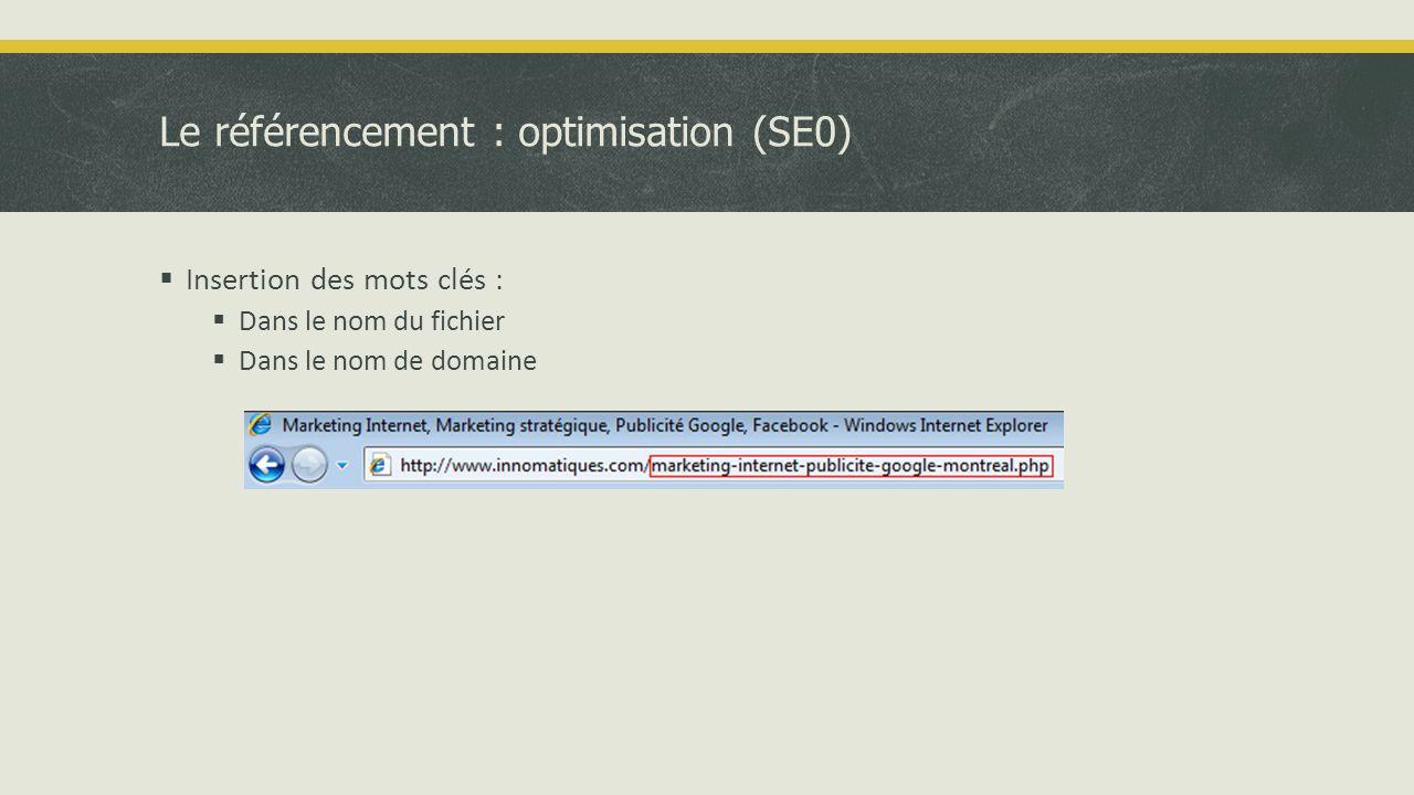 Le référencement : optimisation (SE0)  Insertion des mots clés :  Dans le nom du fichier  Dans le nom de domaine