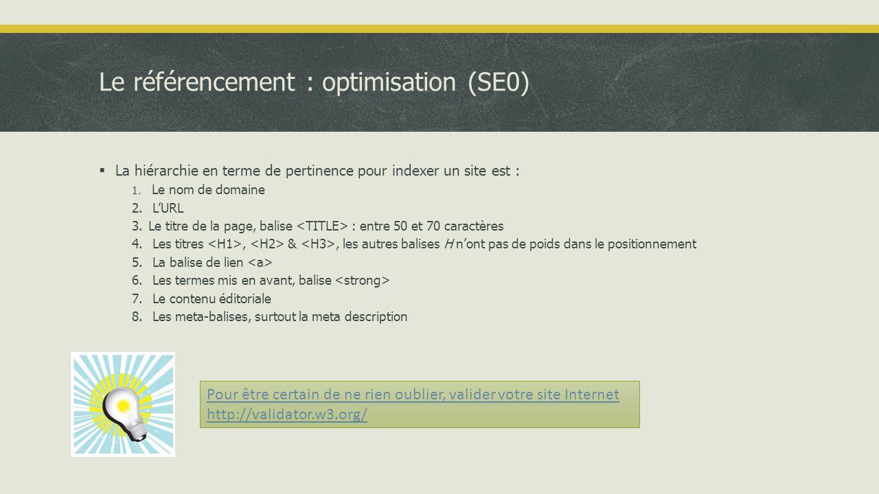 Le référencement : optimisation (SE0)  La hiérarchie en terme de pertinence pour indexer un site est : 1.